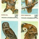 Scott #1760 , Scott 1761, Scott 1762, Scott #1763 American Owls  stamp block of 4 x 15¢