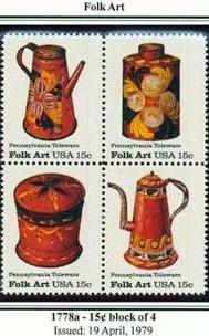 Scott #1778a Folk Art - Pennsylvania Toleware stamp block of 4 x 15¢
