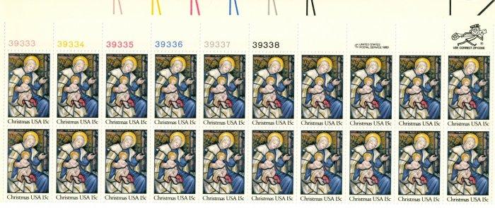 Scott # 1842 Christmas 1980 stamp plate block 20 x 15¢