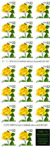 Scott #3054 Yellow Rose  booklet stamp 1996 - Self-adhesive Booklet stamp pane of 20 x 32¢