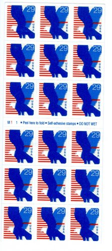 Scott #2598 EAGLE. 1994 Self-adhesive Booklet stamp pane 18 x 29¢