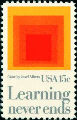 """Scott #1833 AMERICAN EDUCATION - """"Homage to the Square: Glow� 1980 single stamp denomination: 15¢"""
