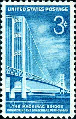 Scott #1109 MACKINAC BRIDGE 1958 single stamp denomination: 3¢