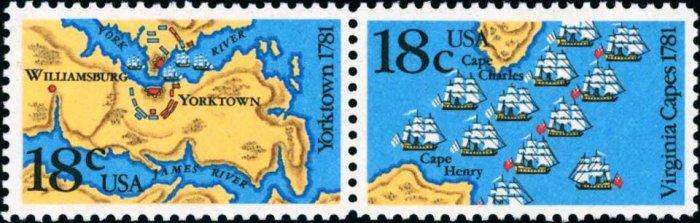 Scott #1938a BATTLE OF YORKTOWN AND VIRGINIA CAPES 1981 PAIR 18¢ denomination: 18¢