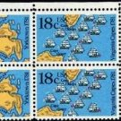 Scott #1938a BATTLE OF YORKTOWN AND VIRGINIA CAPES 1981 block of 4 denomination:18¢
