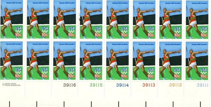 Scott #1790 OLYMPIC GAMES � decathlon - Javelin 1979 plate block of 16 stamps denomination: 10¢