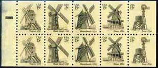 #1742a WINDMILLS 1980 booklet pane of 10 denomination: 15¢