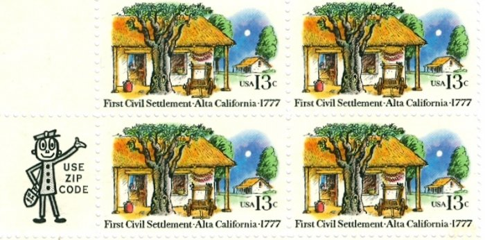 Scott #1725 ALTA CALIFORNIA � First Civil Settlement 1977 block of 4 stamps denomination: 13¢