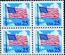 Scott #2278 FLAG OVER CLOUDS 1988 block of 4 denomination: 25¢