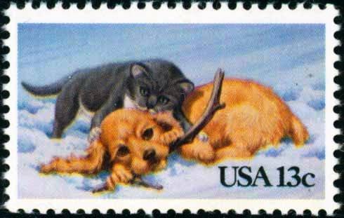 Scott #2025 CHRISTMAS - Cat and dog 1982 single stamp denomination: 13¢