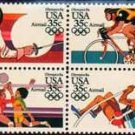 Scott # C112a 1984 SUMMER OLYMPICS block of 4 airmail stamps denomination: 35¢ 3.55