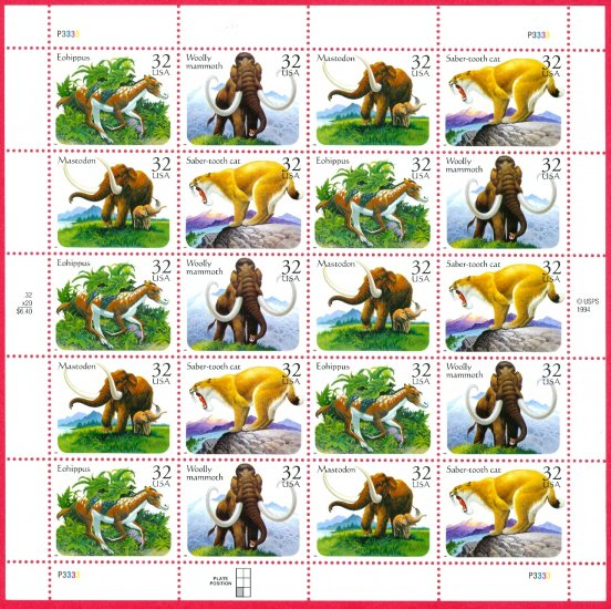 Scott #3080a Prehistoric Animals full sheet 32¢