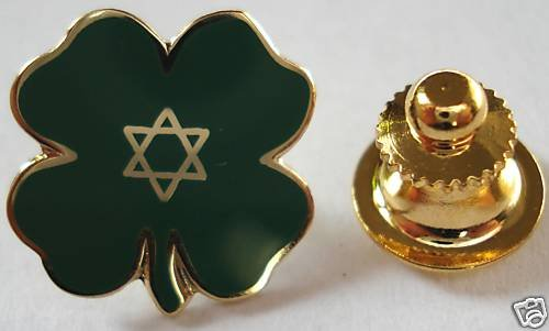 JEWISH LUCKY CLOVER Star of David Jew TIE LAPEL PIN