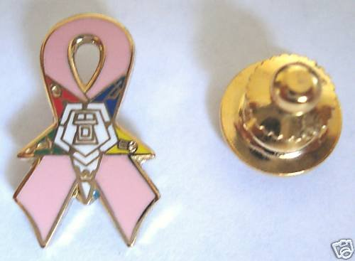 Order of the Eastern Star OES Pink Ribbon Lapel PIN