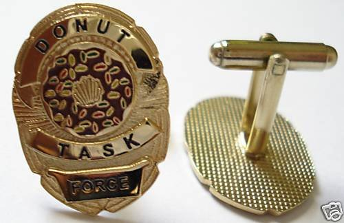 DONUT TASK FORCE Police SWAT Sheriff Badge CUFF LINKS