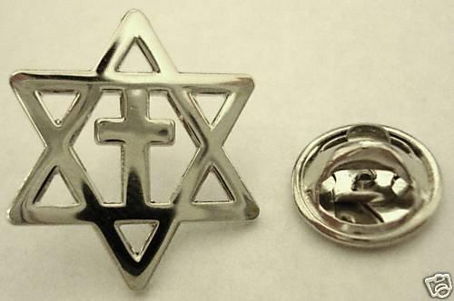 MESSIANIC CROSS Christians for Israel Star of David PIN