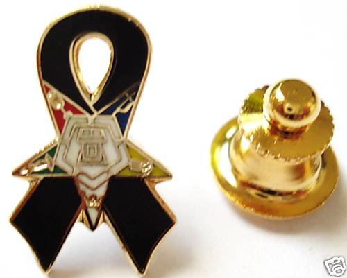 Order of the Eastern Star OES Black Ribbon Lapel PIN