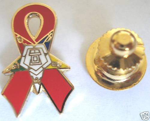 Order of the Eastern Star OES Red Ribbon Lapel PIN