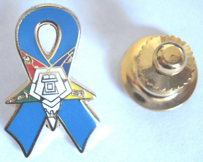 Order of the Eastern Star OES Teal Ribbon Lapel PIN