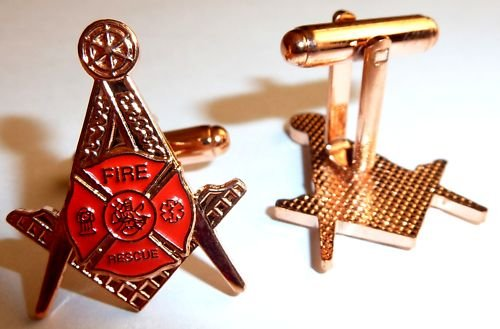 Fire Fighter Fireman Rescue Masonic Freemason Cufflinks
