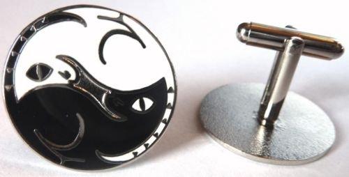YIN YANG BLACK & WHITE CATS CHI YOGA Cuff Link Set