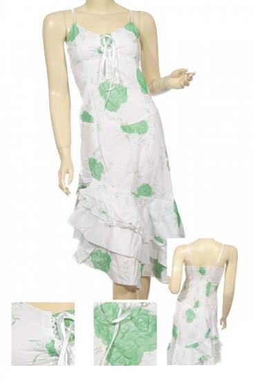 Asymmetrical dress w/decorative embroidered lace