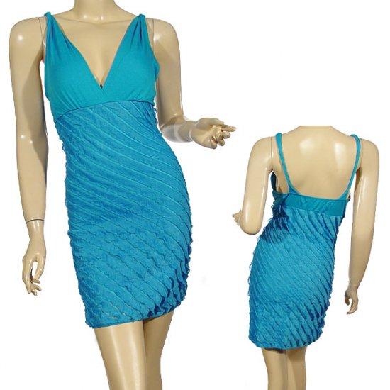 Sleeveless twisted straps v-neck fitted mini dress