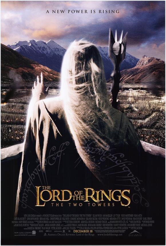 Lord of the Rings : Two Towers Saruman Double Sided Original Movie Poster 27x40