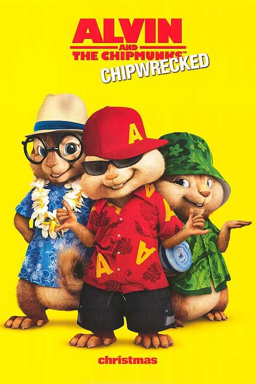 Alvin and the Chipmunks Chip-Wrecked Advance A Original Movie Poster Double Sided 27x40 X40