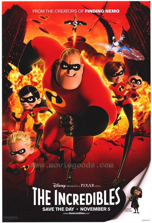 Incredibles Regular Original Movie Poster Double Sided 27x40