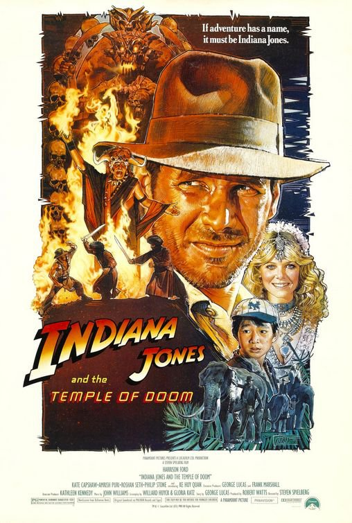 Indiana Jones and The Temple Of Doom (Re-Release) Original Movie Poster Single Sided 27x40