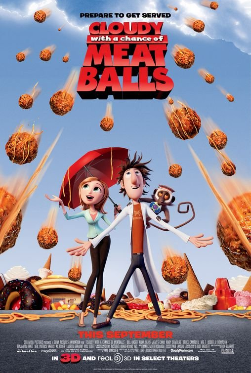 Cloudy With A Chance Of Meatballs Regular Original Movie Poster Double Sided 27 X40