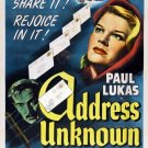 Address Unknown Movie  Poster 13x19 inches