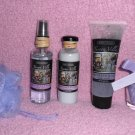 NEW 5 PC Bath set! Grapeseed & Aloe with Bath salts, lotion, body mist, scrub, pouf