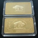 NEW 100 MILLS GOLD BUFFALO BAR  1 TROY OZ MINT COPY