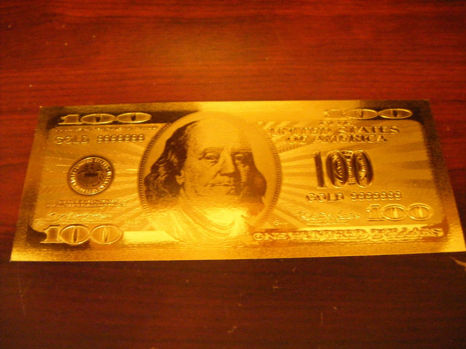 $100 DOLLARS GOLD .999 US BANKNOTE BILL