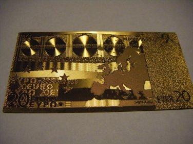 20 EURO GOLD .999 BANKNOTE BILL