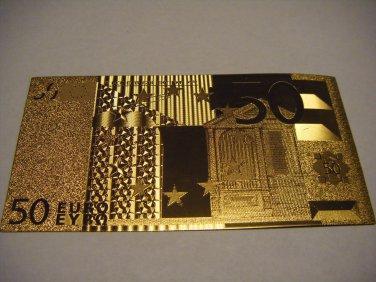 50 EURO GOLD .999 BANKNOTE BILL