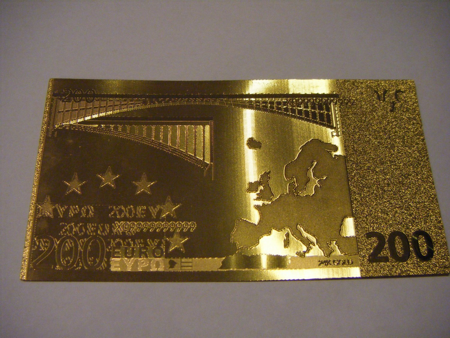 200 Euro Gold 999 Banknote Bill