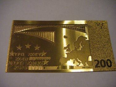 200 EURO GOLD .999 BANKNOTE BILL