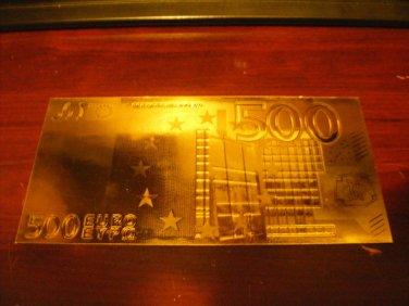 500 EURO GOLD .999  BANKNOTE BILL