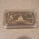 Collectors 24K Gold Clad 100 Mills Five Gram Great White Bullion Bar
