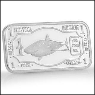 Collectors One Gram .999 Pure Silver Shark Bullion Bar
