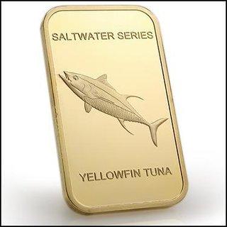 Collectors 24K Gold Clad 100 Mills One Ounce Yellowfin Tuna Bullion Bar