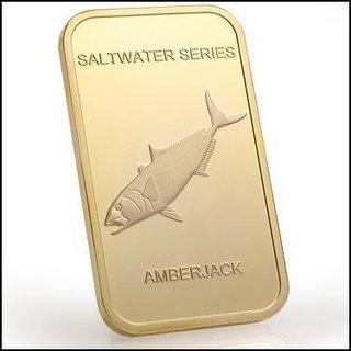Collectors 24K Gold Clad 100 Mills One Ounce Amberjack Bullion Bar