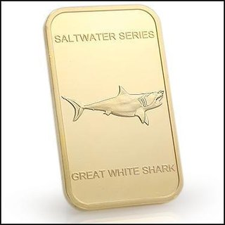Collectors 24K Gold Clad 100 Mills One Ounce Great White Shark Bullion Bar