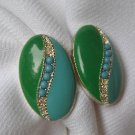 Vintage 1950s Blue & Green w/ Blue Beads Earrings