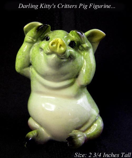 SWEET KITTY'S CRITTERS CANTRELL GREEN PIG FIGURINE