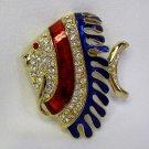 FAB RED & BLUE ENAMELED RHINESTONE TROPICAL FISH PIN