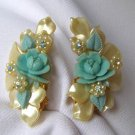 LARGE 1950s Plastic Flowers & AB Rhinestone Earrings
